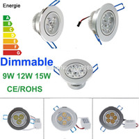led ceiling downlight kit Canada manufacturers - Wholesale-Energy Saving Dimmable 9W 12W 15W LED Recessed Downlight Kit Cabinet Ceiling Spot Lamp Light Fixture110V 220V with Driver