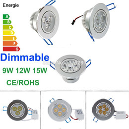 led ceiling downlight kit Canada - Wholesale-Energy Saving Dimmable 9W 12W 15W LED Recessed Downlight Kit Cabinet Ceiling Spot Lamp Light Fixture110V 220V with Driver