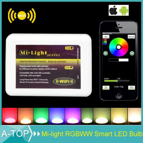 Wholesale-2015 New Dimmable Mi Light Wireless Wifi LED Remote Controller for 2.4G Smart Light RGBW/RGB Lamp Bulb Strip For iOS Android