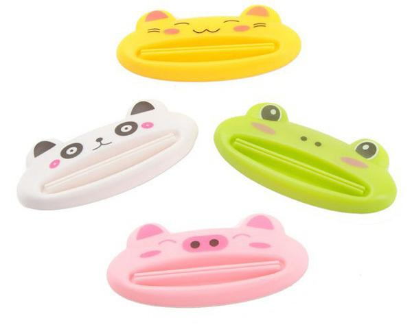 Gros-New Distributeur de salle de bain dentifrice 1 pc / lot Lovely Animal Tube Squeezer Facile Squeeze Pâte Distributeur Porte-rouleau 8.8 * 4cm AY870001