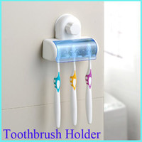 Wholesale Spinbrush Suction Holder - Wholesale-Home Bathroom Toothbrush SpinBrush Suction Holder Stand Rack Plastic Set 5 Bin[010446]