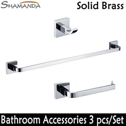 wholesale free shipping bathroom accessories set square solid brass chrome robe hook paper holder single towel bar 3 pcs set wholesale