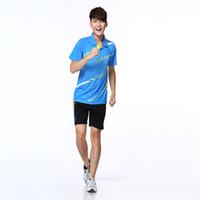 Wholesale Mens Tennis Clothing - Wholesale-Free shipping badminton Clothes Mens Badminton Shirts Men badminton tennis team uniform Best quality Comfortable T-shirt