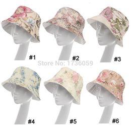 Wholesale Hats Pictures - Wholesale-trendy ladies printed flower picture beach Bucket Hats fishing hat Elegant Women's cute silk cap 6 kinds of color