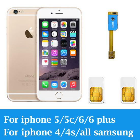 Wholesale-Dual 2 Sim Card Adapter Slot For For Android For iPhone 4 4s 5 5s 5c 6 6plus,For Samsung Galaxy S4 S5 S6 Note