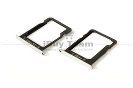 Wholesale sim card memory sd holder - Wholesale-100% Original for Huawei Ascend Mate 7 SIM Card Tray Holder + Micro SD Memory Nano Card Tray Slot Holder Metal Replacement Parts