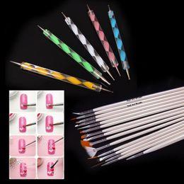 Wholesale Art Paint Brush Set - Wholesale-Design Painting Dotting Detailing Nail Art Pen Brushes Bundle Tool Kit Set Nail Brush 20pcs Set Nail styling tools