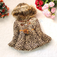 Wholesale Fox Coat Kids - Wholesale-TopSale Baby Girls Leopard Faux Fox Fur Collar Winter Coat Hoodies Children Kids Outerwear Clothing Clothes Jackets 34