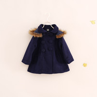 Wholesale Trenchcoat Girls - Wholesale-New 2015 winter girl long sleeve woollen trenchcoat with cap children outwear Double-breasted