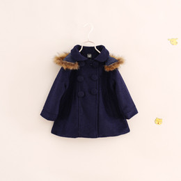 Wholesale Winter Trenchcoat - Wholesale-New 2015 winter girl long sleeve woollen trenchcoat with cap children outwear Double-breasted