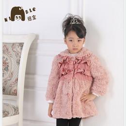Wholesale Girl Long Pink Fur Coat - Wholesale-2015 Promotion Long Patchwork Fashion Cashmere Polyester free Shipping New Design Elegant Fur Girls Winter Coat Children Outwear