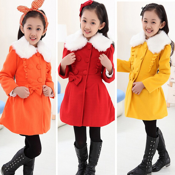 fd3b14e0016d Wholesale Winter Girl Coat Kid Jacket Woolen Coat Girls Children ...