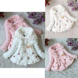 Wholesale Stylish Little Girl - Wholesale-New Kid's Little Girls Princess Winter Stylish Faux Fur Cotton Lace Coat 1pc