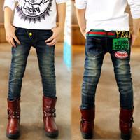 Wholesale Boys Size 3t Jeans - Wholesale-2015 size 3T-14 children spring winter full jeans big boys clothes pants kids clothing denim boy jeans customize