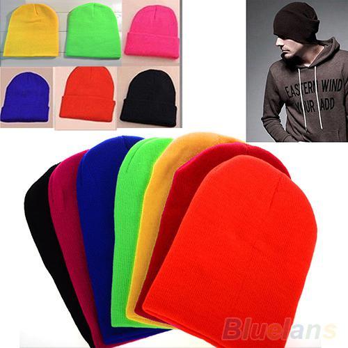 01543dd3884 Wholesale-Women Men New Winter Solid Color Plain Beanie Knit Ski Cap ...
