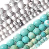 cuenta azul de 4mm al por mayor-Venta al por mayor-Venta al por mayor 4MM 6MM 8MM 10MM Blanco y azul cielo Howlite turquesa bolas de piedra para el collar de la pulsera DIY Joyería