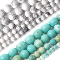 Wholesale Turquoise Beads Howlite 6mm - Wholesale-Wholesale 4MM 6MM 8MM 10MM Natural White and Sky Blue Howlite Turquoise Stone Beads For Bracelet Necklace DIY Jewelry