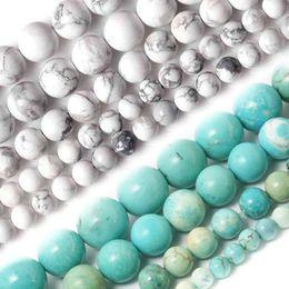 Canada Gros-gros 4MM 6MM 8MM 10MM Naturel Blanc et Bleu Ciel Howlite Turquoise Pierre Perles Pour Bracelet Collier DIY Bijoux Offre