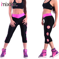 Wholesale-IMIXBOX Frauen Yoga Pants Sport Leggings Seitenloch Hosen Jogginghose Schwarz Marine Blue Rose Weiß S-XL