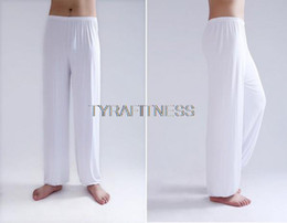 Blue Yoga Pants Canada - Wholesale-Yoga Pants Fitness Clothing For Women & Men Leggings and Sports Gym Exercise Wushu Tai Chi XXL Pants White Blue Clothes