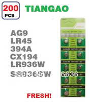 Wholesale Tiangao Alkaline Battery - Wholesale-200pcs AG9 394A SR936SW LR936 LR45 SR45 SR936 CX194 RW33 TIANGAO Watch Clock Cell Button Batteries Alkaline wholesale card LOT