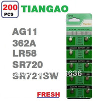 Wholesale Tiangao Alkaline Battery - Wholesale-200pcs AG11 LR58 SR58L LR721 SR721SW 362A SP362 601 162 TIANGAO Watch Clock Cell Button Batteries Alkaline wholesale LOT