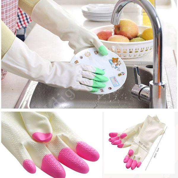 Wholesale-New Warm Cleaning Plus Velvet Warm Rubber Gloves Kitchen tools Dishwashing plus Velvet Latex Gloves Household MRL0062
