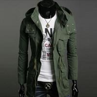 chaquetas de algodón para hombre de nuevo estilo al por mayor-Otoño-Otoño Invierno Nuevo Estilo Mens Full Length Trench Coats Moda Casual Cotton Jacket Wind Coat para Hombres Color Sólido Chaqueta Hombre