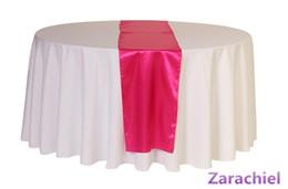 Corredor de mesa redonda on-line-Atacado-12 peças Tiffany Blue Table Runner para mesa de mesa redonda mesa de cetim de linho casamento fita brilhante tecido de cetim frete grátis