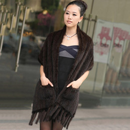 Wholesale Knitted Mink Scarves - Wholesale-Hot-selling Knitting Mink Scarf Cape Wrap with Tassels Autumn Women Wholesale Coat Jacket Wedding Dress Free Shipping