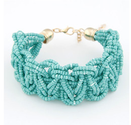 Wholesale Bead Jewerly - Wholesale-Fashion Designer Jewerly Women 2015 Vintage Bohemian Handmade Beads Bracelets Bangles Free Shipping
