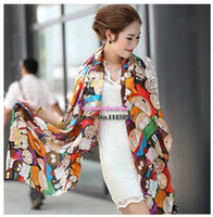 Wholesale Novel Cartoon Scarfs - Wholesale-Free shipping 2015 novel cartoon figure fashion South Park silk scarf woman 's cape velvet chiffon scarf