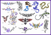 Wholesale A3 Tattoo - Wholesale-Tagore Book 6 Tattoo Stencil Designs Art Template with 15 designs,1 design on each A3 sheet