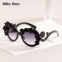 Wholesale Super Big Sunglasses - Wholesale-Super nice hand made flower big round frame sunglasses Vintage retro sun glasses 2015 new fashion sun glasses oculos de sol F1
