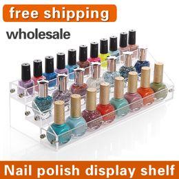 Wholesale Acrylic Nail Polish Racks - Wholesale-2015 NEW Fashion acrylic makeup organizer nail polish Nail polish display cosmetic rack plastic storage box free shipping