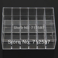 Wholesale Wholesale Acrylic Cosmetic Display Stand - Wholesale-Fress shipping Clear Acrylic 24 Lipstick Holder Display Stand Cosmetic Organizer Makeup Case # 9014