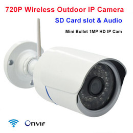 Wholesale Mini Bullet Cams - WIFI mini ip camera 720p wireless hd 1mp security bullet waterproof outdoor Infrared SD Card slot audio p2p network onvif ip cam