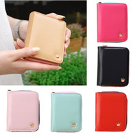 Wholesale Crown Zip - Wholesale-Fashion Short Crown Women Wallet Top Quality Candy Color Mini Zip Purse PU Leather Fold out Wallets Card Holder Clutch
