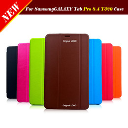 Wholesale Book Galaxy Tab - Wholesale-Orignal Smart Case Book Magnetic Flip Leather Cover For Samsung Galaxy Tab Pro 8.4 T320 T325 Ultra Thin Tablet Screen Protector