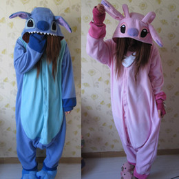 Animaux Adultes Pas Cher-Gros-animal cosplay pyjamas costume femme onesies pour adultes pyjamas de fête one piece blue pink stitch onesie lilo et stitch costumes