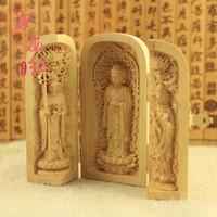 Wholesale Trinity Buddha - Wholesale-Red Dragon Decoration Buddha statues Western Trinity boxwood boxwood wood ornaments Guanyin carry jewelry