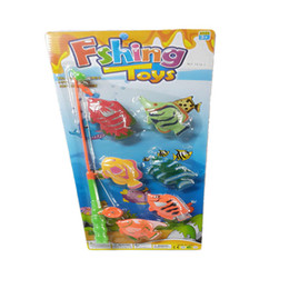 Wholesale-2015 Novelty Fishing Toy Magical Fish Christmas Magic Toys Gifts 6 Fish And Fishing rod for kids children Deals