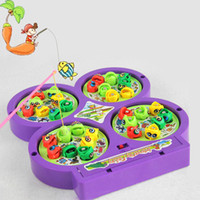 Wholesale Fishing Magnets - Wholesale-New Child Educational Electric Toy Rotating Magnetic Magnet Fish Go Fishing Game Toy quality first 2pcs