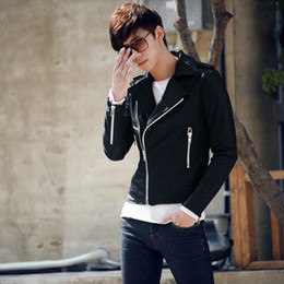 Wholesale Best Leather Jackets - Fall-best price for Handsome Men's Rock Punk Faux Leather Zipper Stand Collar Jacket Outerwear