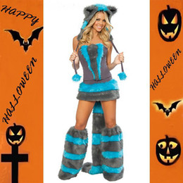 Wholesale Gloves Cat Cosplay - Wholesale-Drop Shipping Fashion Fur Strapless Blue And Grey Women Cosplay Costumes ML5018 Wolf Animal Sexy Costume Cheshire Cat Costume