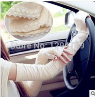 Wholesale Ladies Driving Gloves Uv Protections - Wholesale-Woman UV Protection Long Gloves Anti-UV bilayer Lace arm sleeves Drive Gloves Oversleeves lady Summer party Sunscreen Mittens