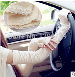 Wholesale Long Sleeve Fingerless Mitten - Wholesale-Woman UV Protection Long Gloves Anti-UV bilayer Lace arm sleeves Drive Gloves Oversleeves lady Summer party Sunscreen Mittens