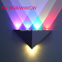 Wholesale Deco Cabinet - Wholesale-7w AC110V 220V colorful led wall lamp vintageTriangle corridor cabinet wall surface mounted bathroom decoration LED wall light
