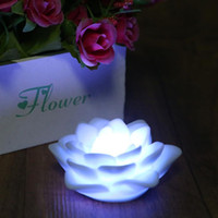 Wholesale Lotus Flower Led Lights - Wholesale-Romantic Colors Changing Lotus Flower LED Night Light Decoration Candle Lamp Night light Free Shipping