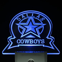 Wholesale ws0142 Dallas Cowboys Sport Bar Day Night Sensor Led Night Light Sign